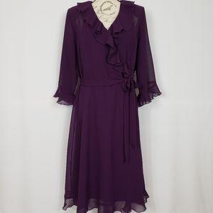 Lane Bryant Purple Faux Wrap Ruffle Dress - 18